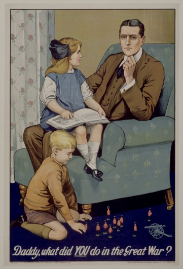 Daddy, what did YOU do in the Great War?; by Savile Lumley (d.1950); commisioned by The British Parliamentary Recruiting Committee; U.K.; 1915. Source: collections.vam.ac.uk