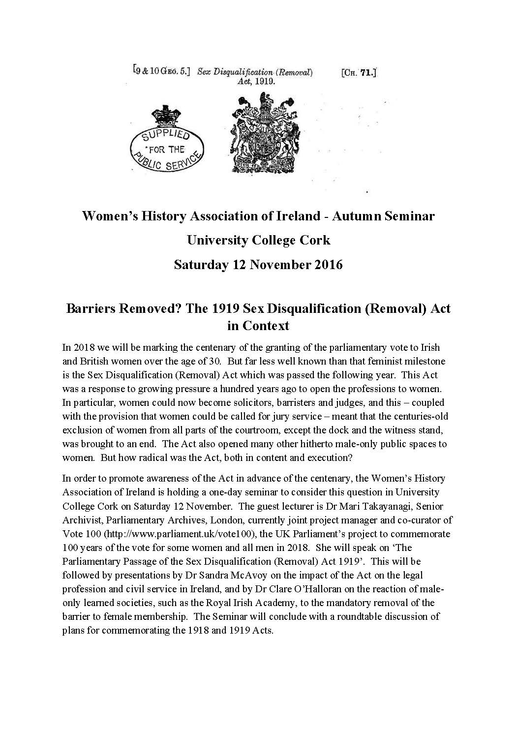 The 1919 Sex Disqualification (Removal) Act in Context, 12th November 2016.  whai_autumn_seminar-2016-ucc_page_1 ...
