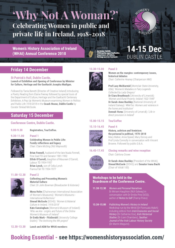 Why Not A Woman Poster, 14-15 Dec, WHAI conference 2018